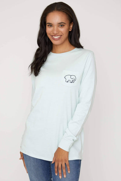 Pale Blue Quilted Paisley Ella Tee - Ivory Ella - Women's Long Sleeve Shirts
