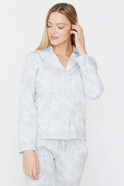 Ivory Ella Sleepwear Grey Allover Printed PJ Set