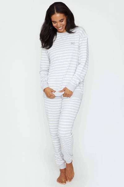 Ivory Ella Sleepwear Grey Striped Crew
