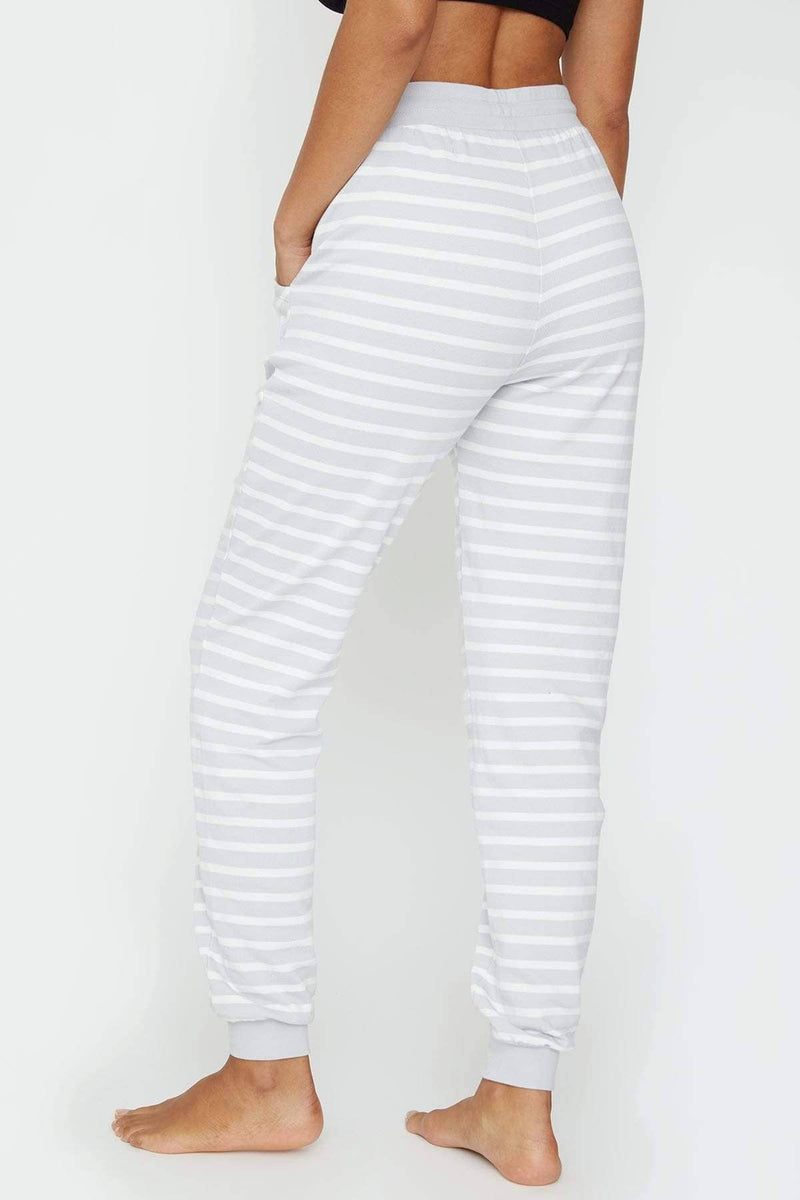 Ivory Ella Sleepwear Grey Striped Jogger
