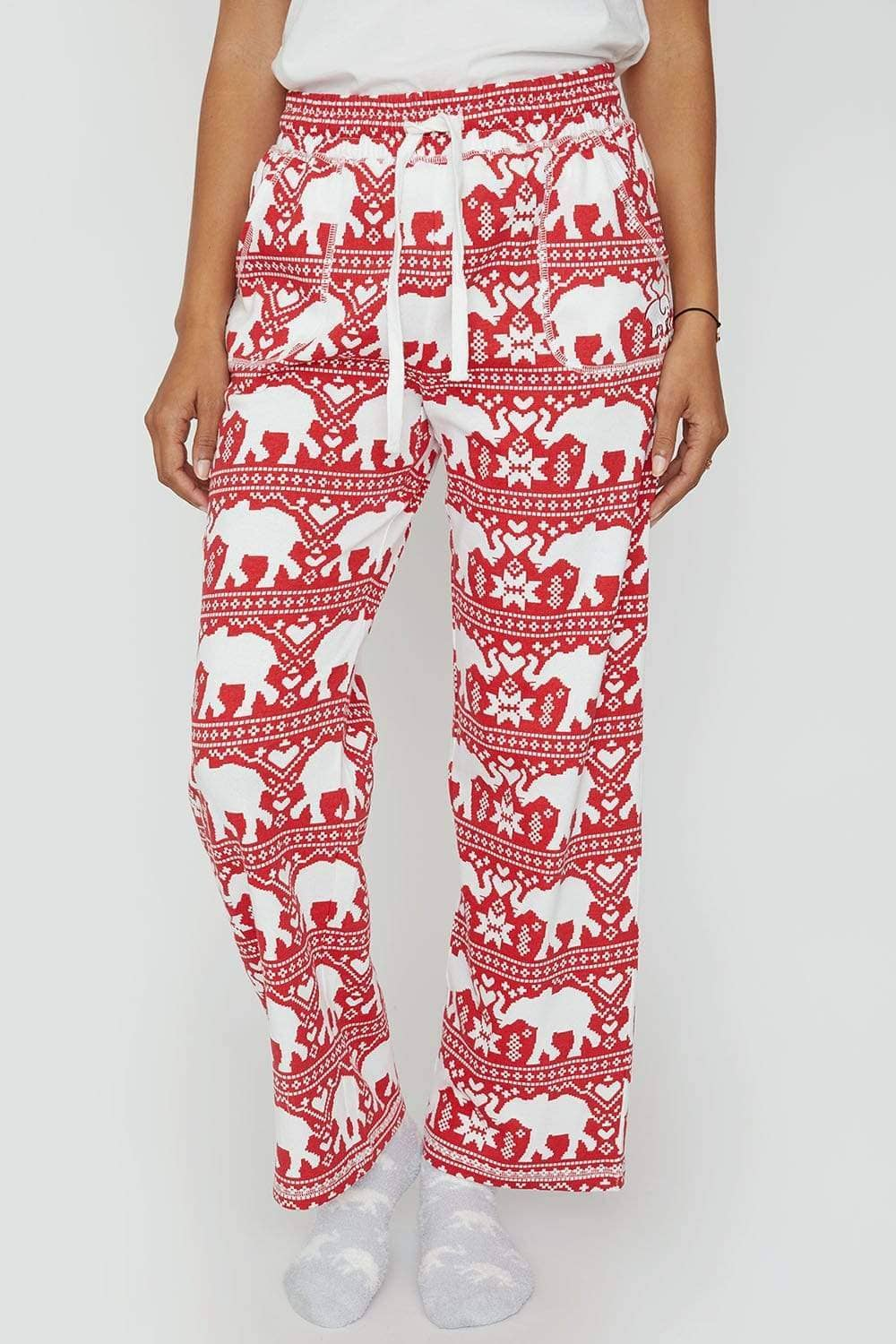 Ivory Ella Sleepwear Ribbon Red Printed PJ Pant