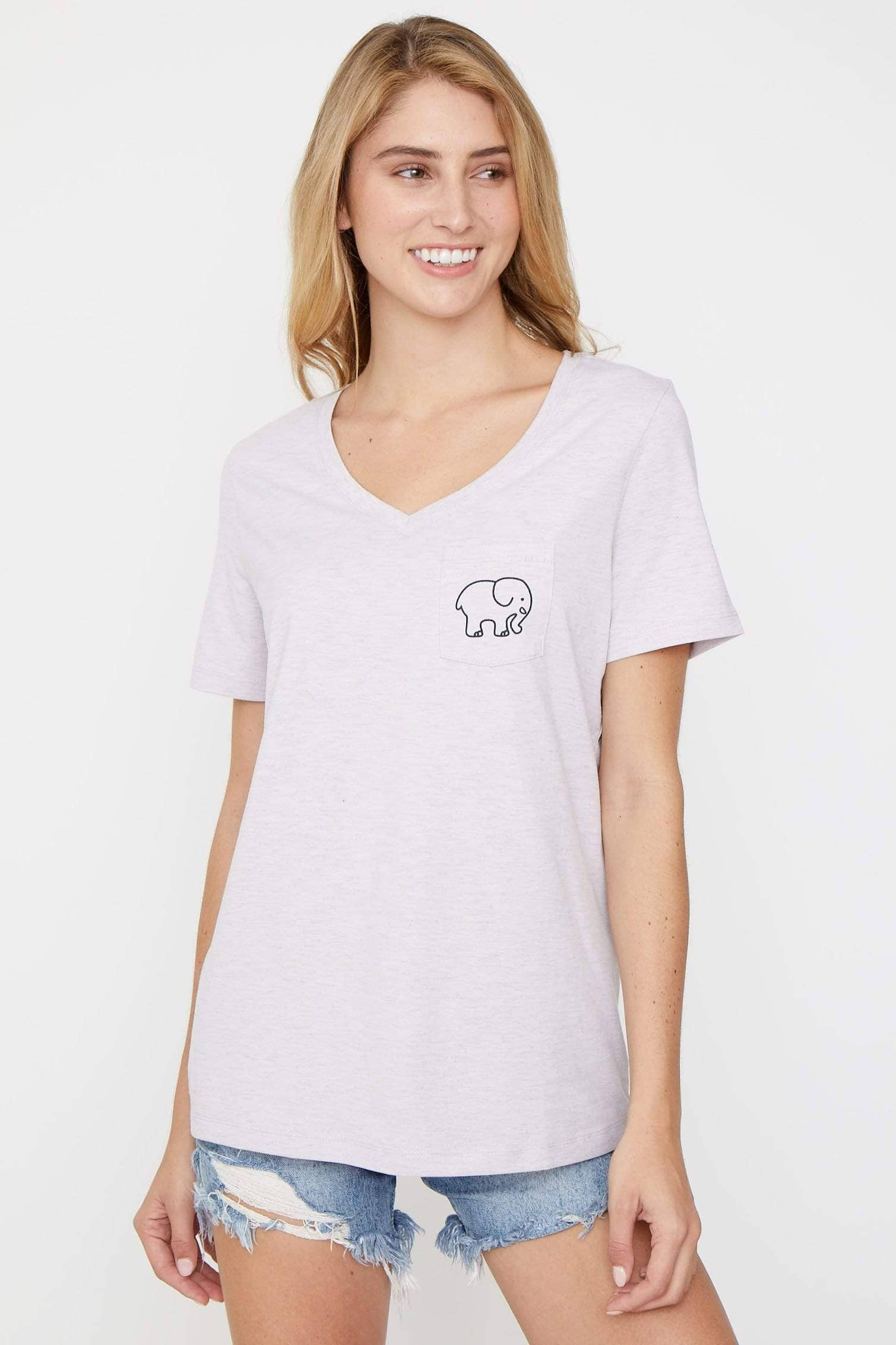 Amethyst Heather V-Neck Tee - Ivory Ella - Women's Short Sleeve Tees