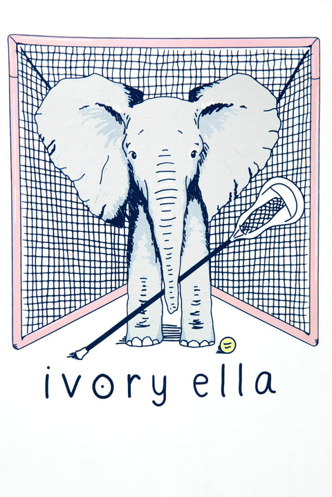 Ivory Ella Sports LS XXS Ella Fit Soft White Lacrosse Long Sleeve Tee