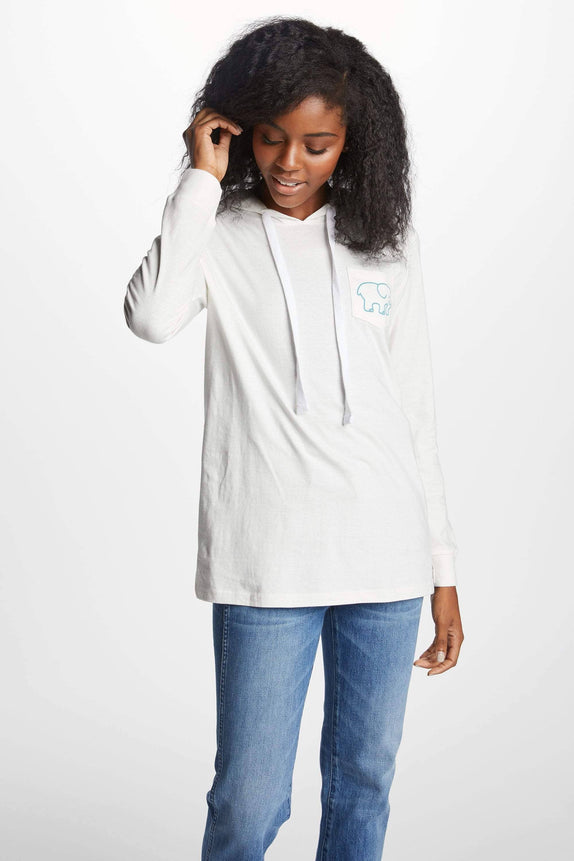 Ella Fit Soft White Tee Shirt Hoodie