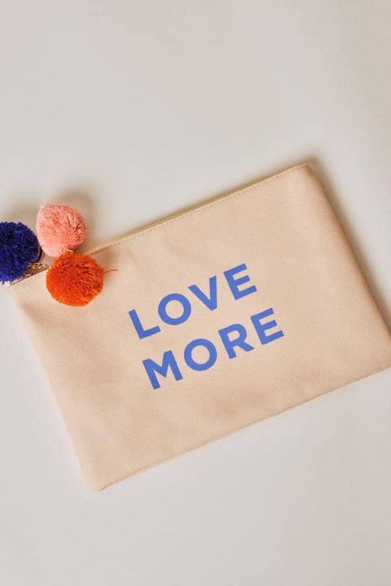 Love More Tropical Leaves Canvas Pouch
