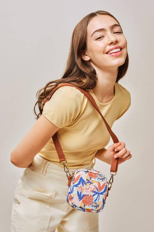 Tropical Leaves Mini Crossbody Bag