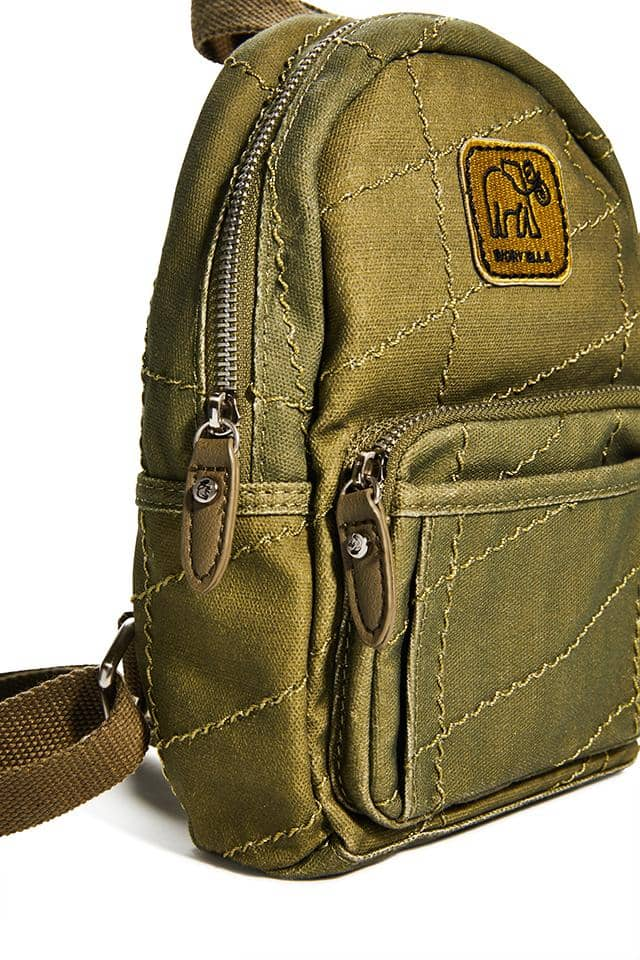 Ivory Ella W Bags Olive Quilted Mini Backpack