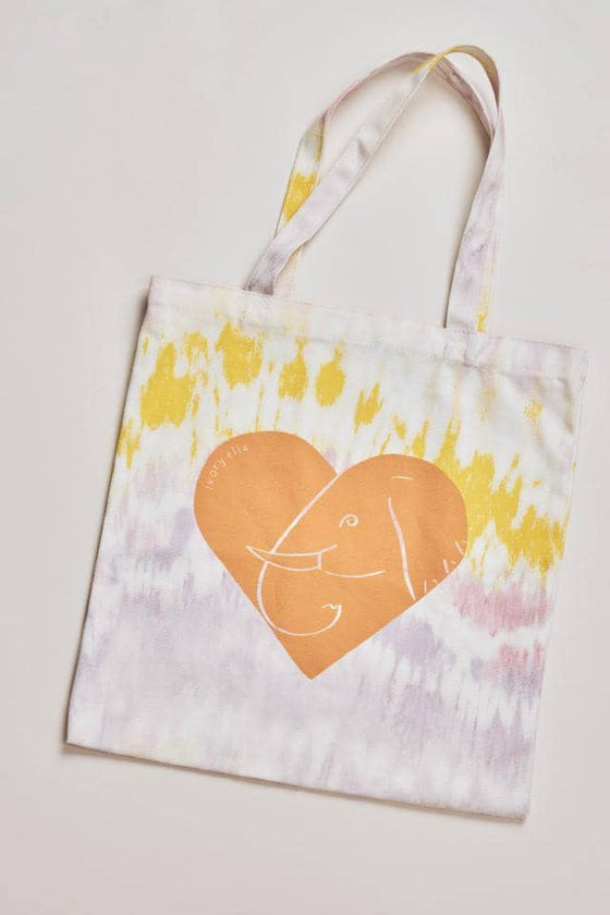 Tie Dye Heart Canvas Tote