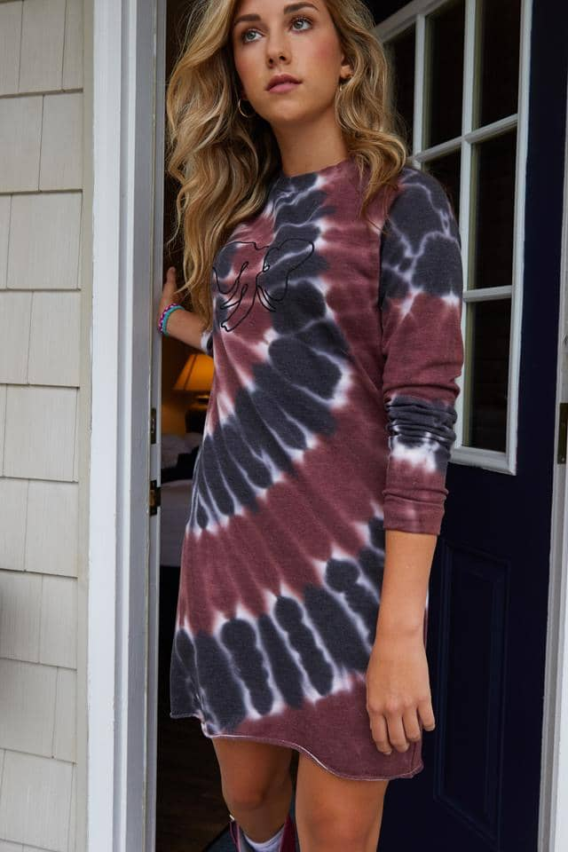 Ivory Ella W Dresses Burgundy Tie Dye Raglan Sweatshirt Dress