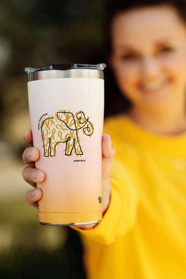 Ivory Ella W Drinkware Childhood Cancer 20oz Stainless Steel Tumbler