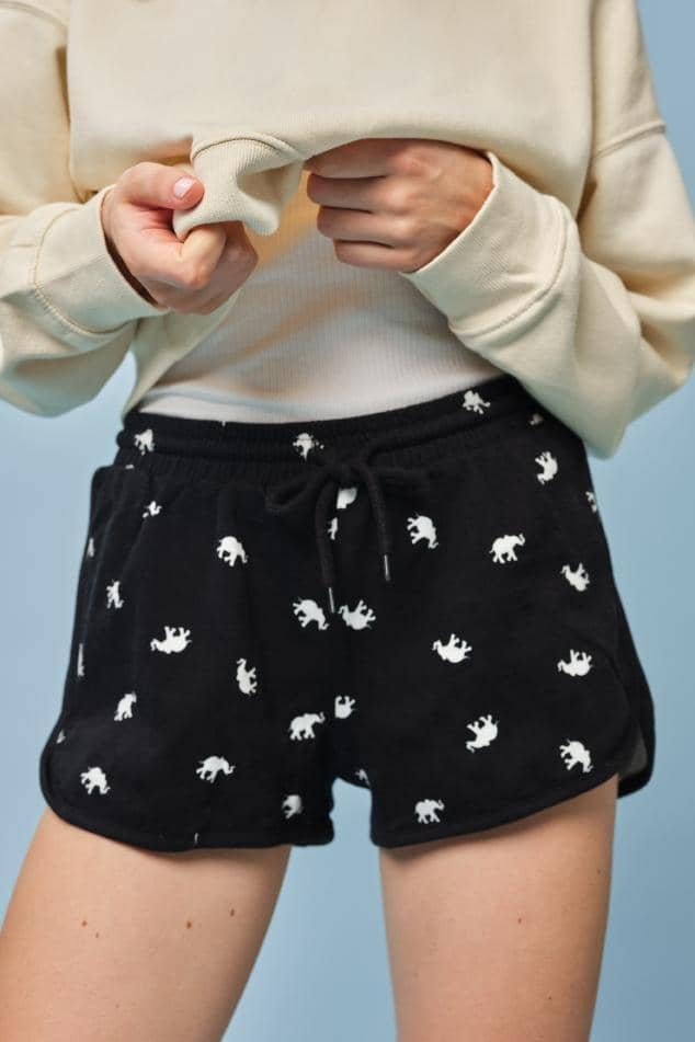 Ivory Ella W Intimates Black Tossed Elephant PJ Short