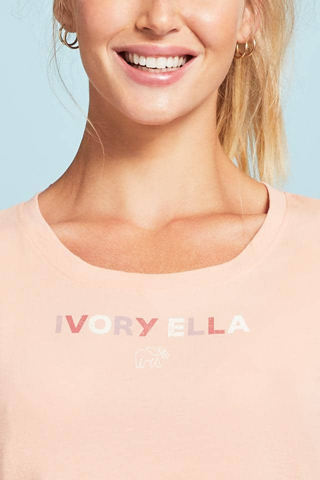 Ivory Ella W Long Sleeve Knits Colorblock Logo Slim T-Shirt
