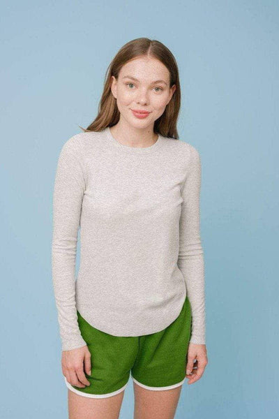 Ivory Ella W Long Sleeve Knits Heather Grey / XS Agatha Rib Tee
