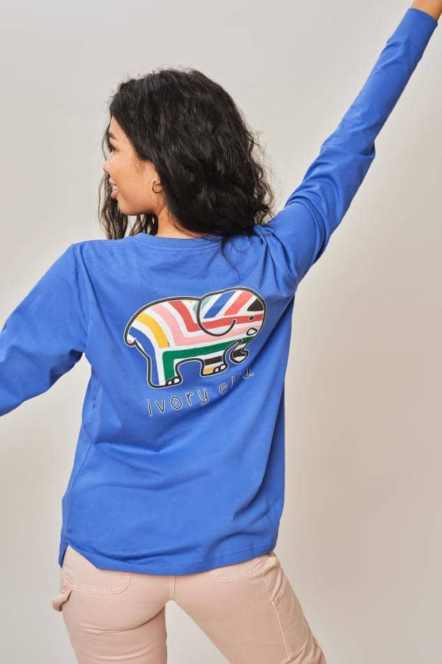 Ivory Ella W Long Sleeve Knits Royal Blue Sahara Stripes Ella Tee