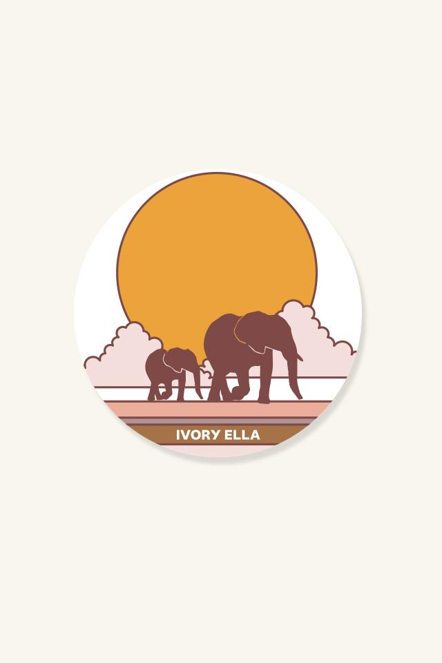 Ivory Ella W Office Sunset Puffy Sticker