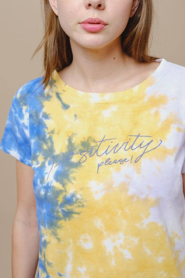 Ivory Ella W Short Sleeve Knits Alba Relaxed Fit Positivity Tie Dye Tee