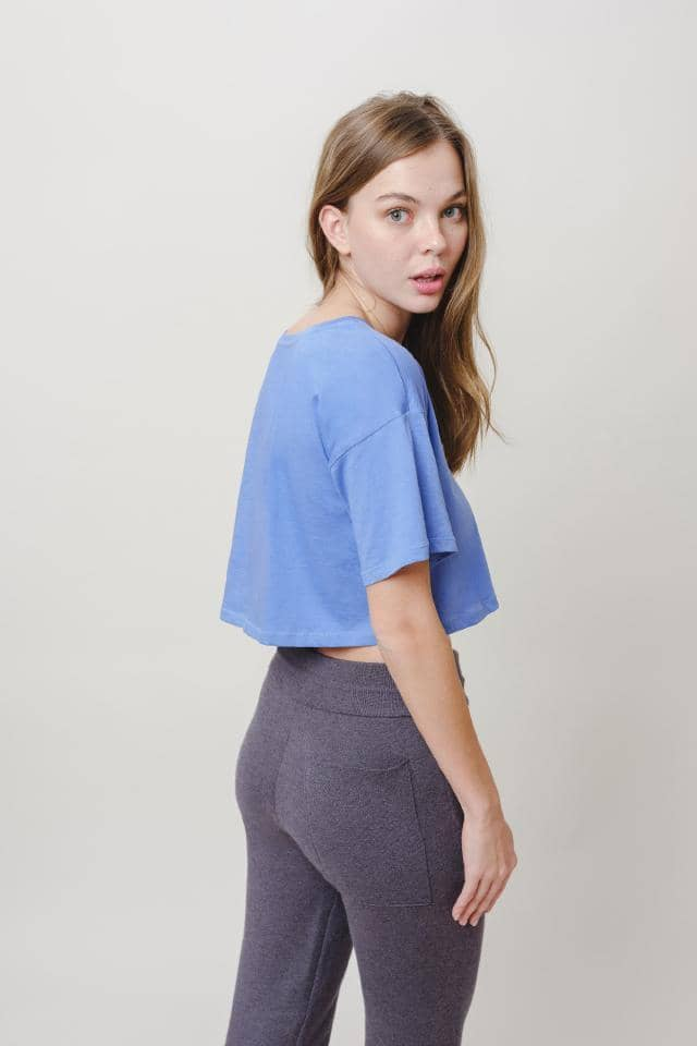 Amelia Relaxed Fit Cropped Femmes Tee (Baja Blue / M)