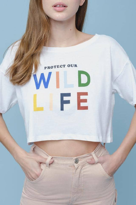 Amelia Relaxed Fit Cropped Wildlife Tee