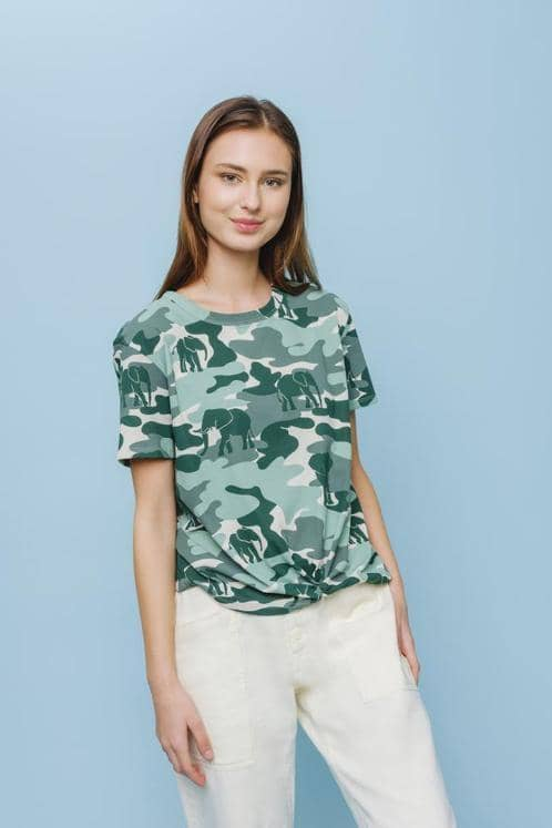 Ivory Ella W Short Sleeve Knits Camo Apple Twist Tee