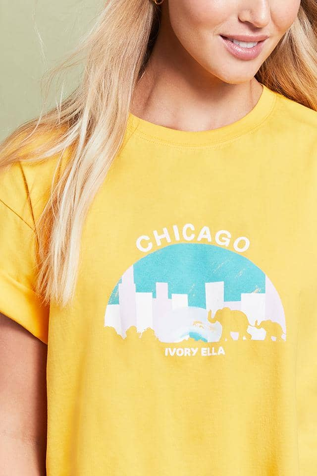 Ivory Ella W Short Sleeve Knits Chicago Oversized T-Shirt