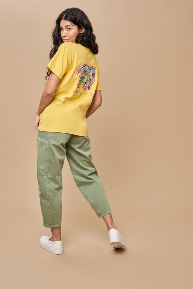 Ivory Ella W Short Sleeve Knits Classic Fit Tropical Leaves Tee