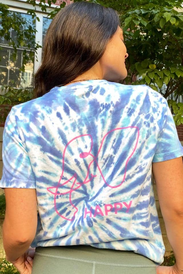 Ivory Ella W Short Sleeve Knits Classic Regular Fit Blue Tie Dye Swirl Tee