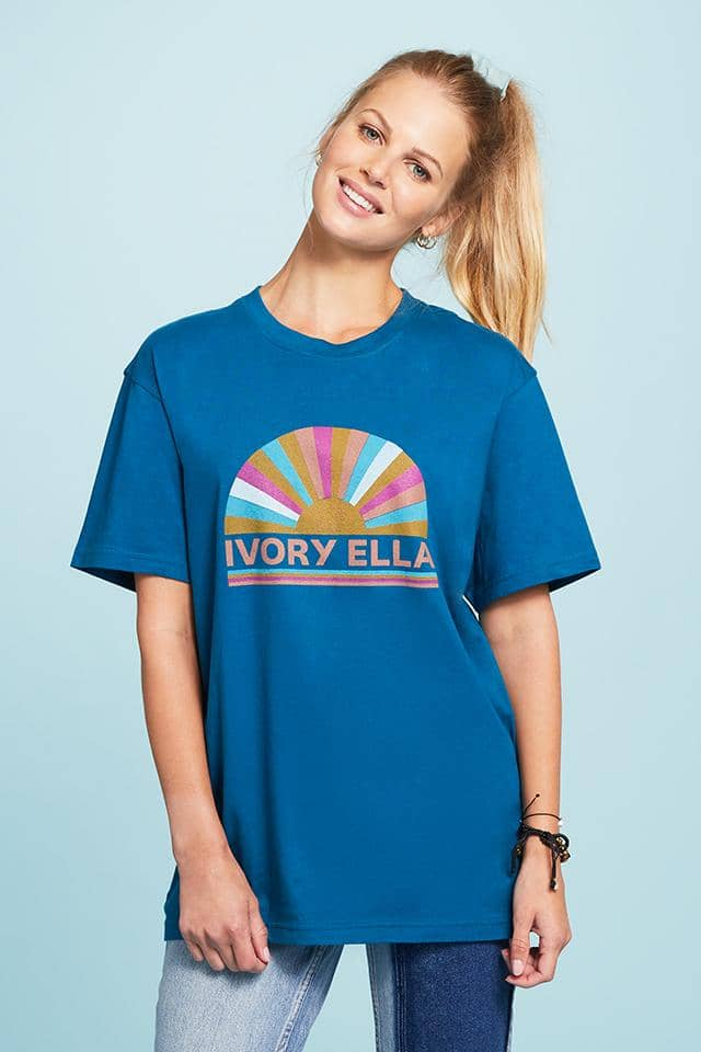 Ivory Ella W Short Sleeve Knits Moroccan Blue / XXS Fan Oversized T-Shirt