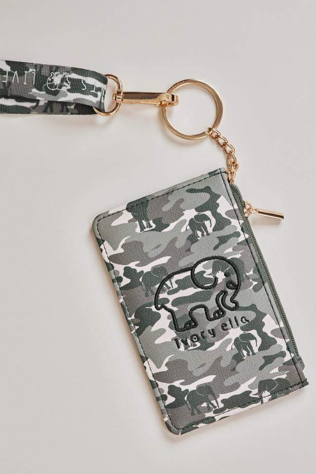 Ivory Ella W Small Goods Green Camo Lanyard Id Case