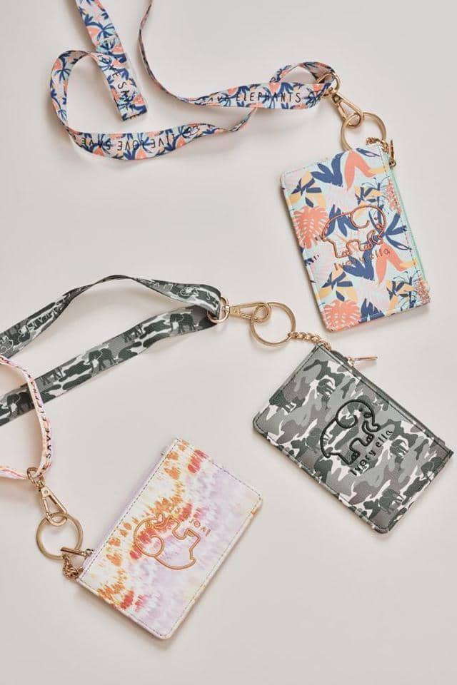 Ivory Ella W Small Goods Multi Tropical Leaves Lanyard Id Case