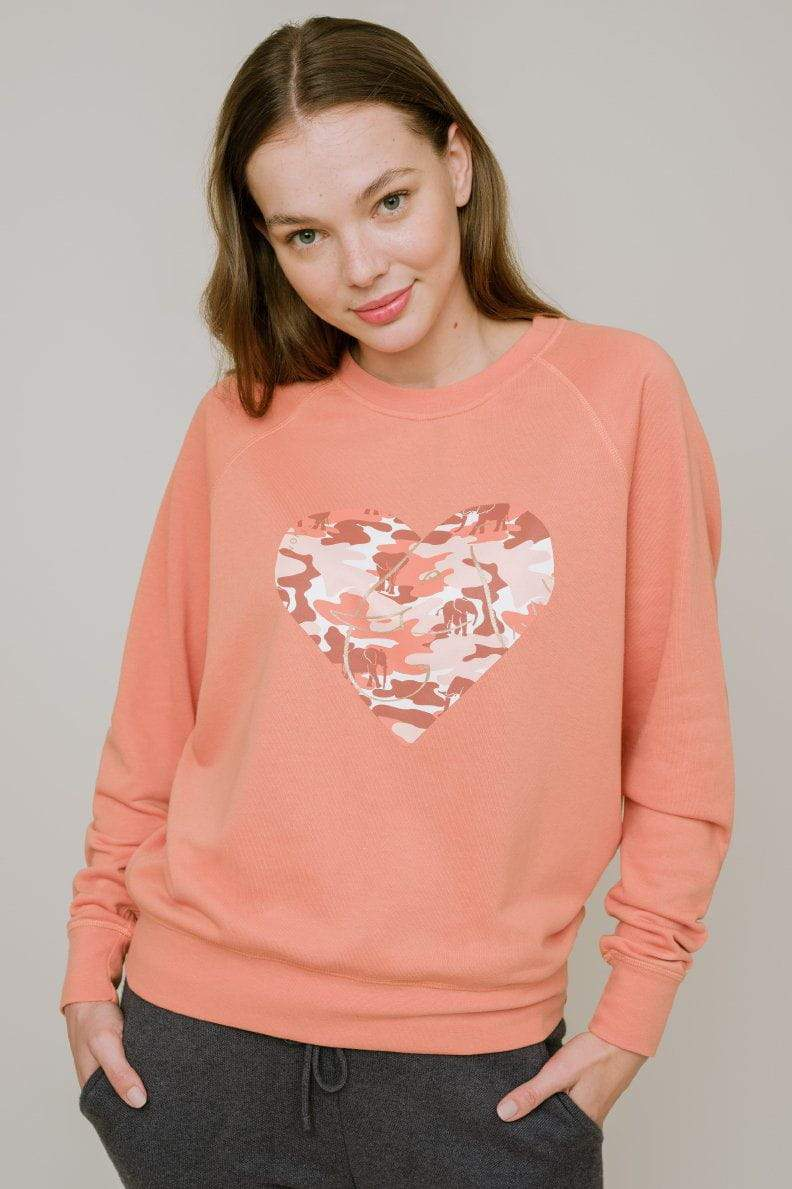 Ivory Ella W Sweatshirts Alissa Regular Fit Raglan Heart Crewneck
