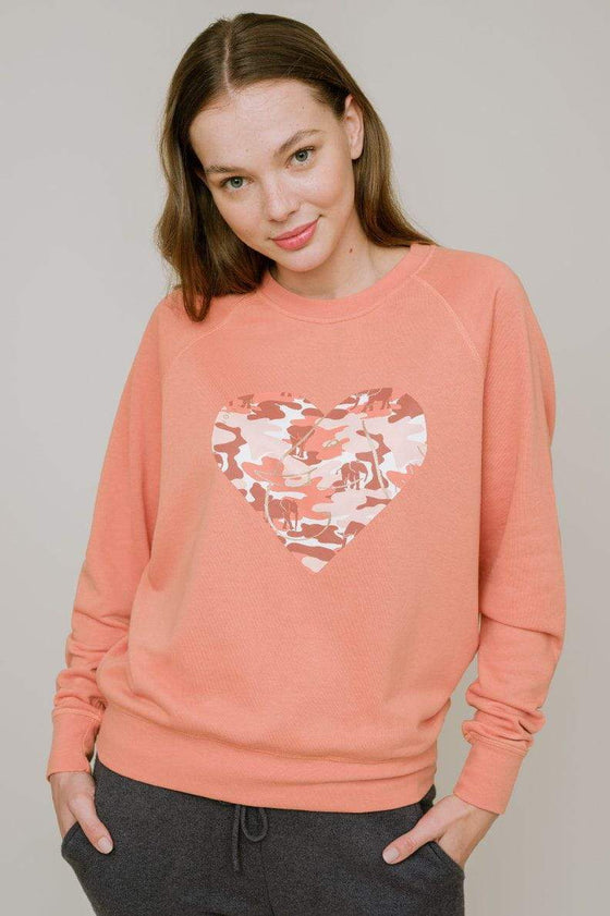 Alissa Regular Fit Raglan Heart Crewneck