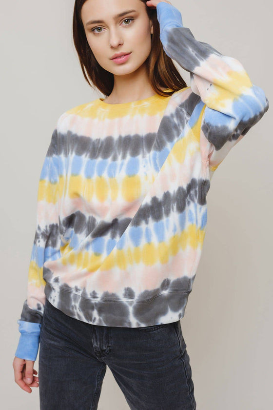 Alissa Regular Fit Raglan Tie Dye Stripe Crewneck