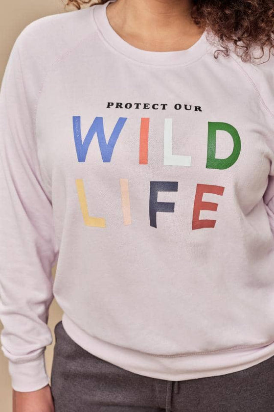 Alissa Regular Fit Raglan Wildlife Crewneck