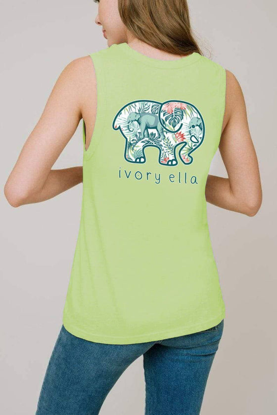 Angie Muscle Tank Forest Elephants