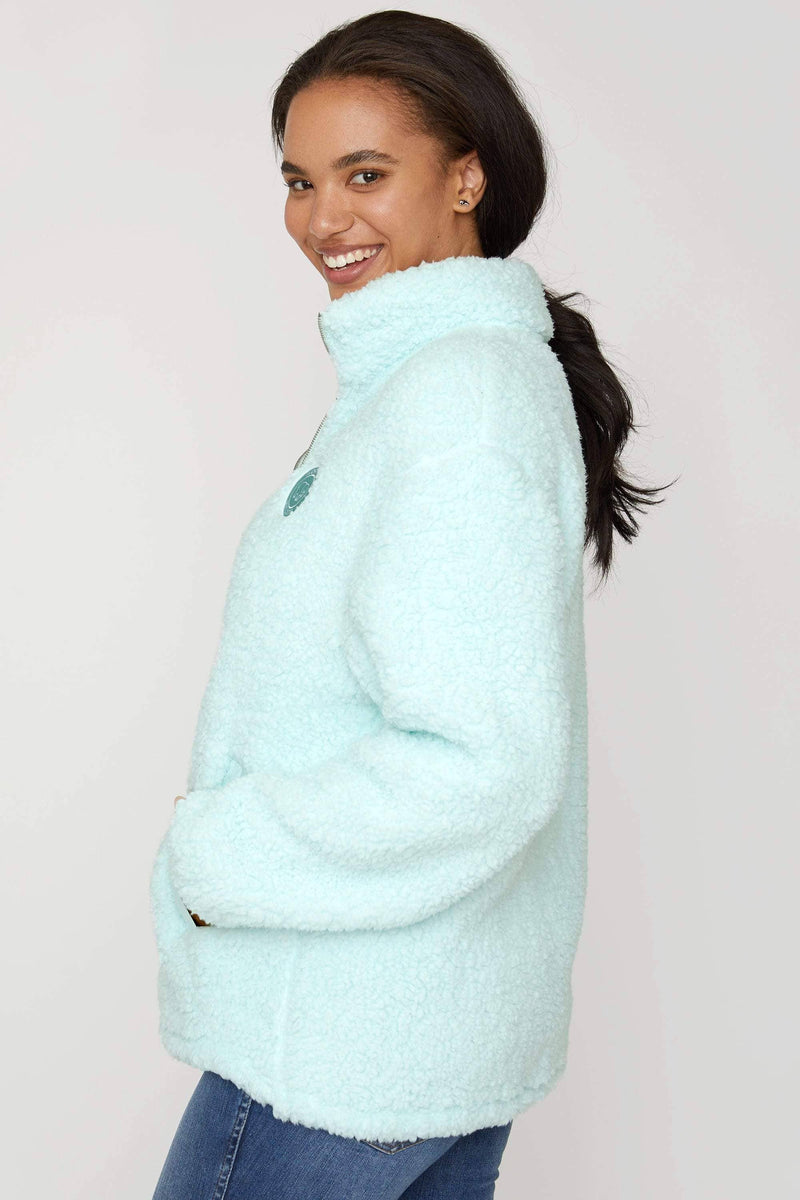 Whispering Blue Quarter Zip Sherpa - Ivory Ella - Women's Outerwear