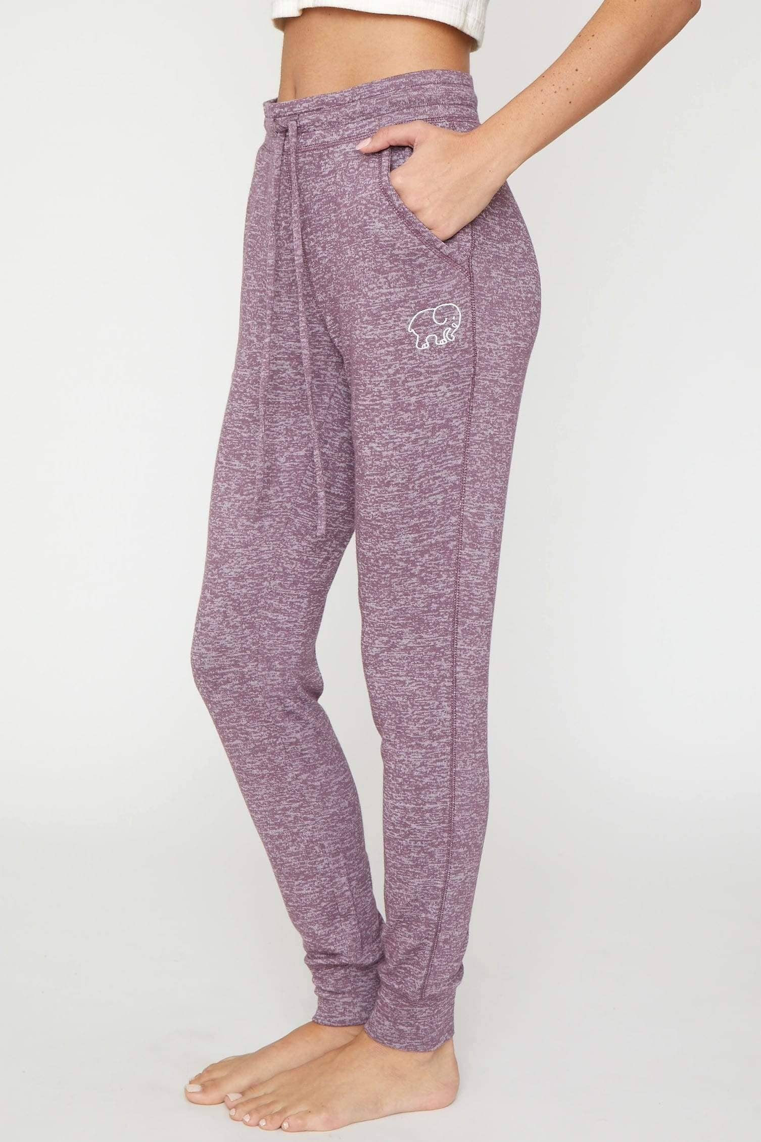 Ivory Ella Women's Bottoms Eggplant Cozy Jogger
