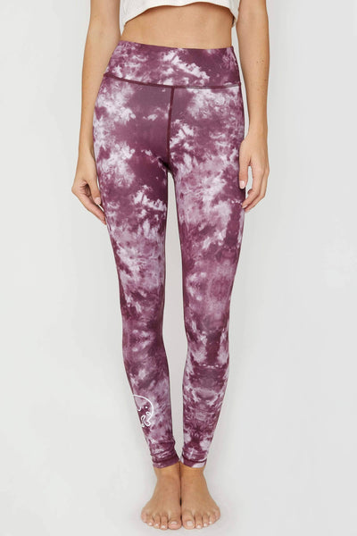 Ivory Ella Women's Bottoms Eggplant Tie Dye Recycled Poly Legging