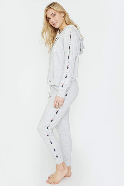 Ivory Ella Women's Bottoms Heather Grey Embroidered Jogger