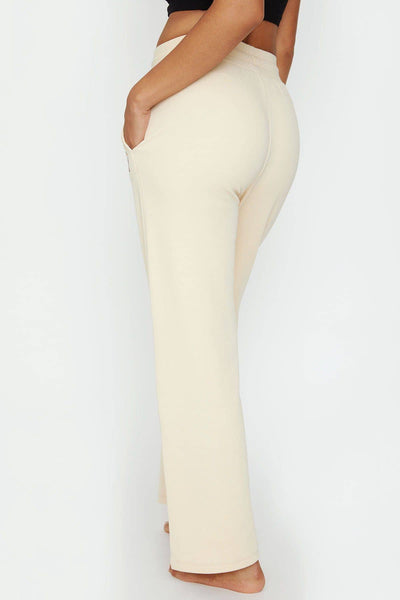 Ivory Ella Women's Bottoms Oatmeal Wideleg Plush Pant