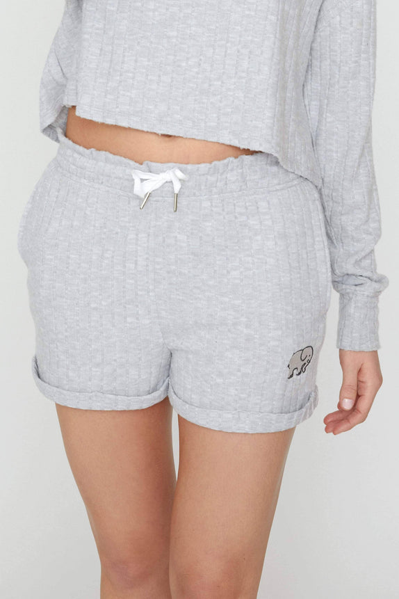 Light Grey Cozy Rib Shorts