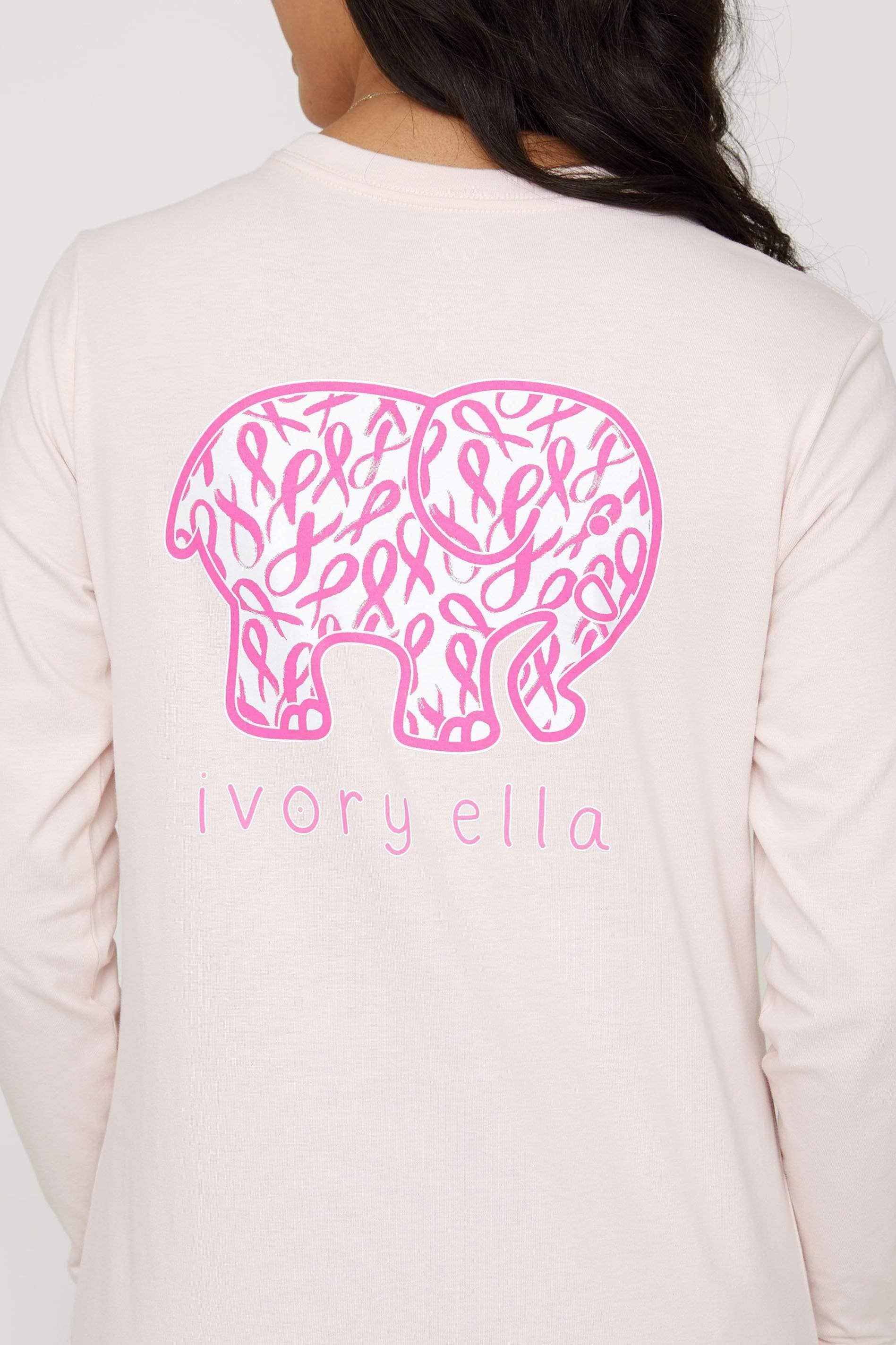 Believe in Pink Ella Tee - Ivory Ella - Women's Long Sleeve Shirts