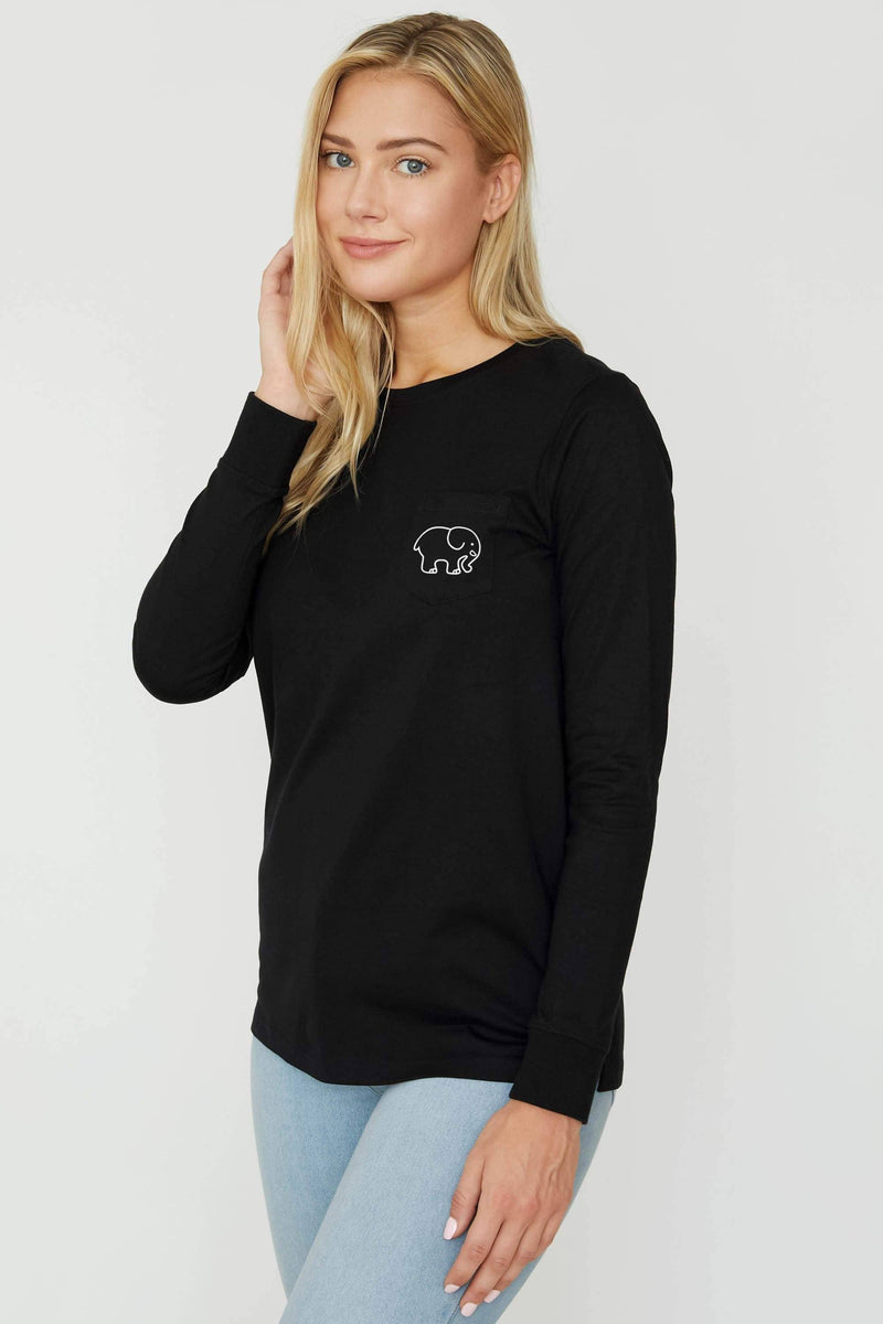 Ivory Ella Women's Long Sleeve Shirts Black Spider Web Ella Tee