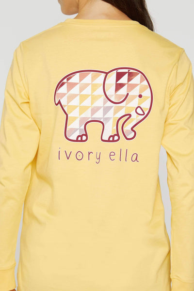 Buff Yellow Sunset Vibes Long Sleeve Ella Tee
