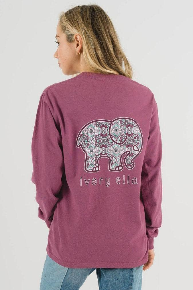 Ivory Ella Women's Long Sleeve Shirts Classic Fit Berry Tribal Zen Tee