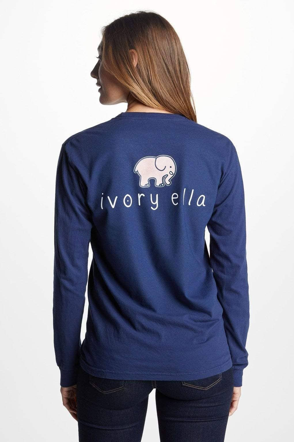 Ivory Ella Women's Long Sleeve Shirts Classic Fit Dark Navy Signature Logo