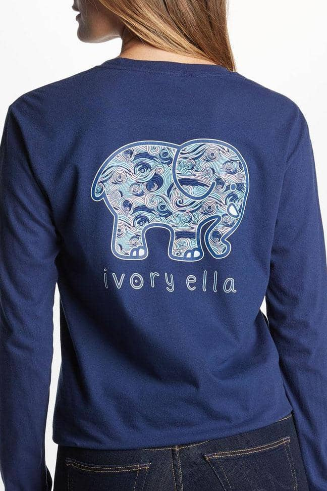 Ivory Ella Women's Long Sleeve Shirts Classic Fit Dark Navy Waves Tee