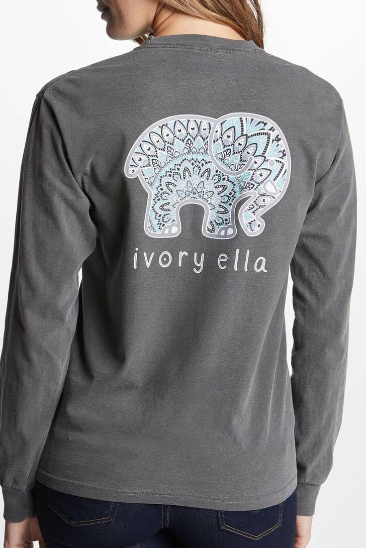 Ivory Ella Women's Long Sleeve Shirts Classic Fit Pepper Zen Mandala Tee
