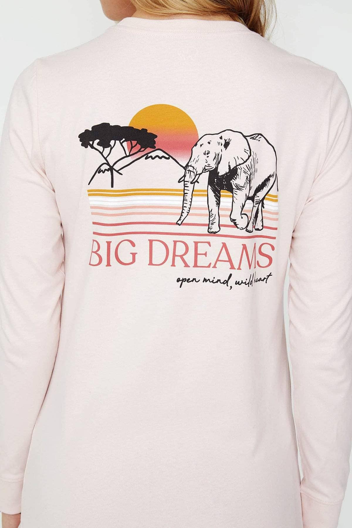 Ivory Ella Women's Long Sleeve Shirts Crystal Pink Big Dreams Ella Tee