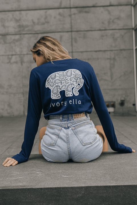 Ivory Ella Women's Long Sleeve Shirts Dark Navy / XXS Ella Fit Dark Navy Paisley