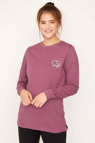Ivory Ella Women's Long Sleeve Shirts Dusty Lavender Motif Ella Tee
